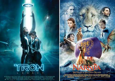 Tron: Legacy Movie Poster, The Chronicles Of Narnia: The Voyage Of The Dawn Treader Movie Poster