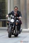 John Abraham rides a bike in Desi Boyz Movie