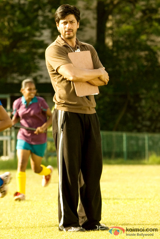 Shah Rukh Khan on the training field in Chak De! India Movie