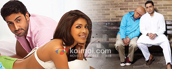 Abhishek Bachchan, Priyanka Chopra ('Dostana' Movie Stills), Amitabh Bachchan, Abhishek Bachchan ('Paa' Movie Stills)