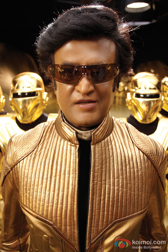 Rajnikanth with glares in Endhiran The Robot Movie