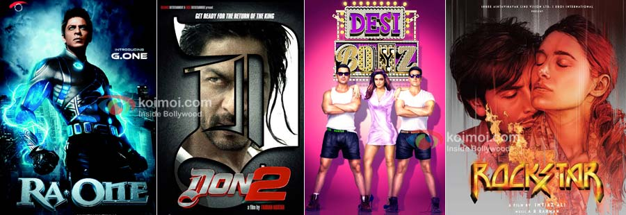 Ra.One, Don 2, Desi Boyz, Rockstar Movie Posters
