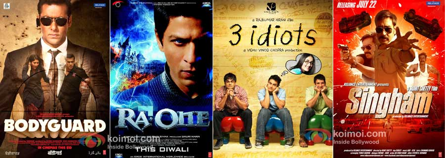 Bodyguard, Ra.One, 3 Idiots and Singham Movie Posters
