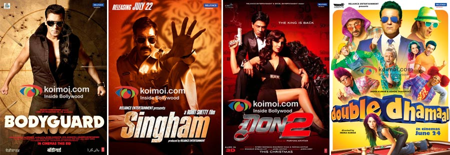 Bodyguard, Singham, Don 2, Double Dhamaal