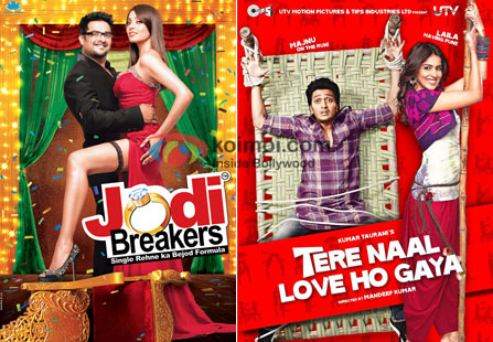 Posters of Jodi Breakers and Tere Naal Love Ho Gaya