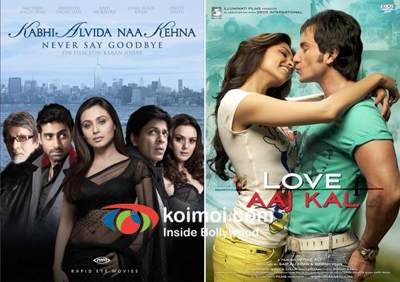 Kabhi Alvida Naa Kehna Movie Poster, Love Aaj Kal Movie Poster