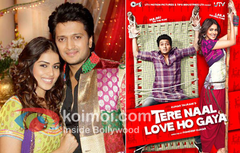 Ritesh Deshmukh with Genelia D'souza & Tere Naal Love Ho Gaya Movie Poster