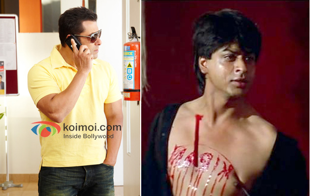 Salman Khan With Phone In Bodyguard Shah Rukh Khan In Darr
