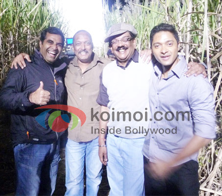 Shailendra Singh, Nana Patekar, Priyadarshan and Shreyas Talpade on the location of Malamaal Weekly 2.