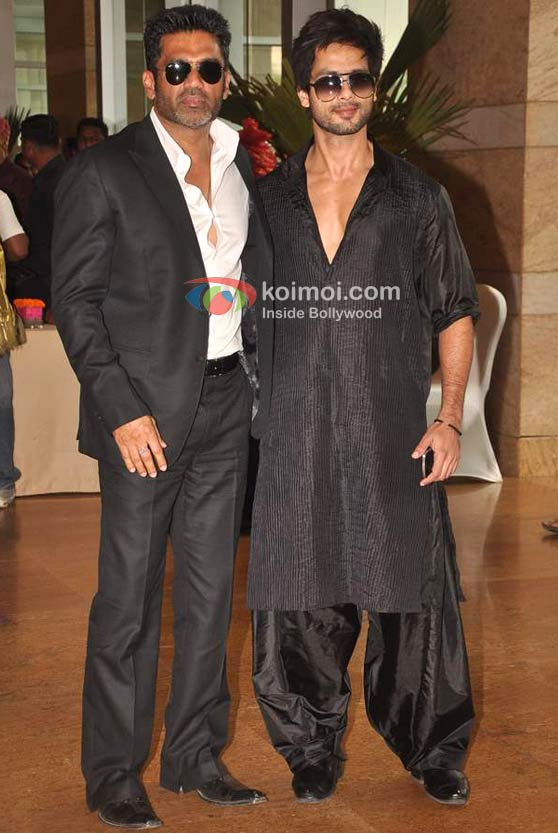 Sunil Shetty, Shahid Kapoor At Ritesh-Genelia Wedding