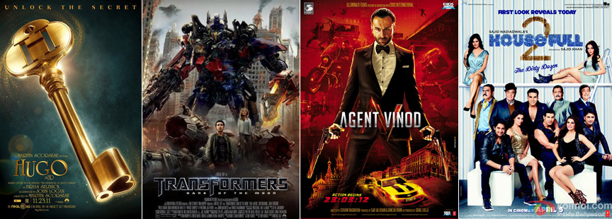 Hugo, Transformers: Dark Of The Moon, Agent Vinod & Housefull 2 Posters
