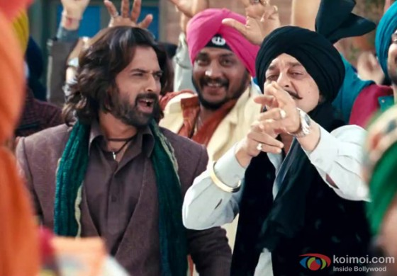 Sanjay Dutt and Mukul Dev in a dance sequence in Son Of Sardar Movie Stills