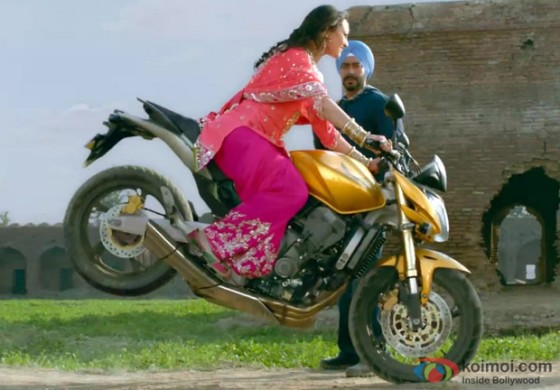 Sonakshi Sinha in a bike stunt in Son Of Sardar Movie Stills