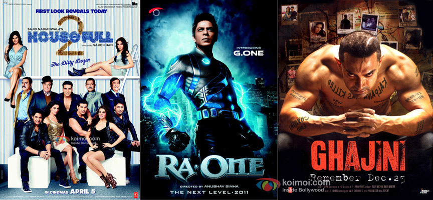 Housefull 2, Ra.One, Ghajini Movie Posters