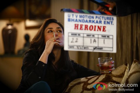 Kareena Kapoor smoking cigarette on the set of Heroine Movie Stills