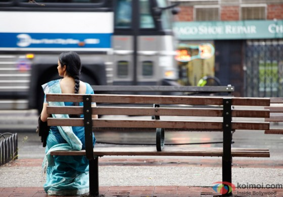 Sridevi seated alone on the roadside in English Vinglish Movie Stills
