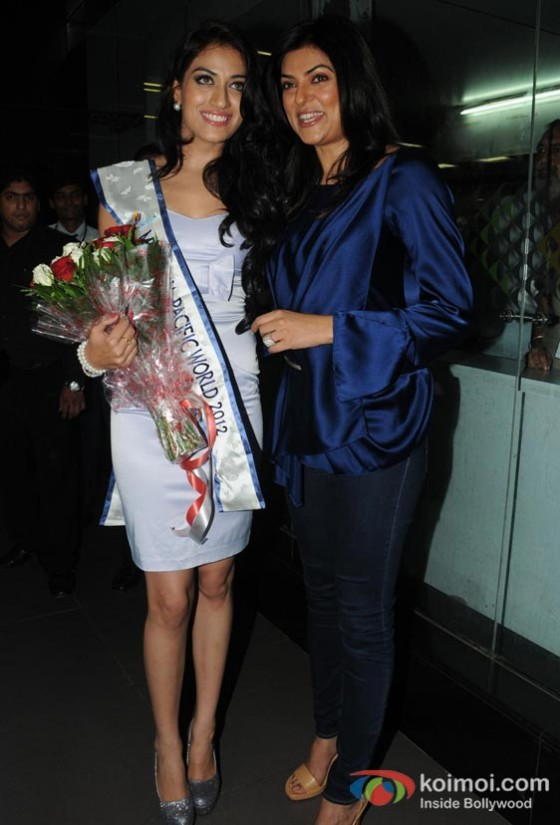 Sushmita Sen Welcomes Himangini Singh Yadu, Miss Asia Pacific World 2012