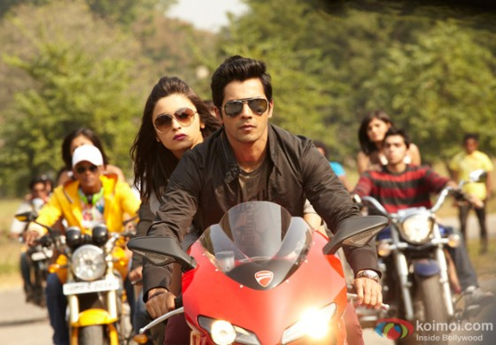 Alia Bhatt Hot and Varun Dhawan riding a bike in Student of the Year Movie Stills