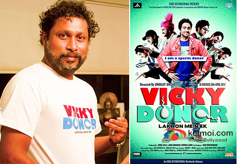 Director Shoojit Sircar and Vicky Donor Movie Poster