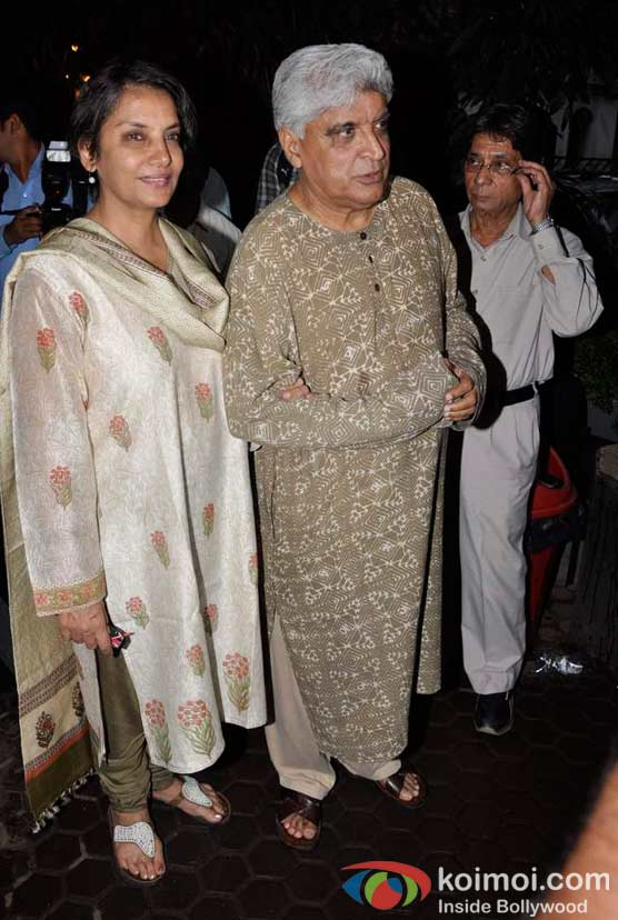 Shabana Azmi, Javed Akhtar At A. K. Hangal (Avtar Kishan Hangal) Prayer Meet