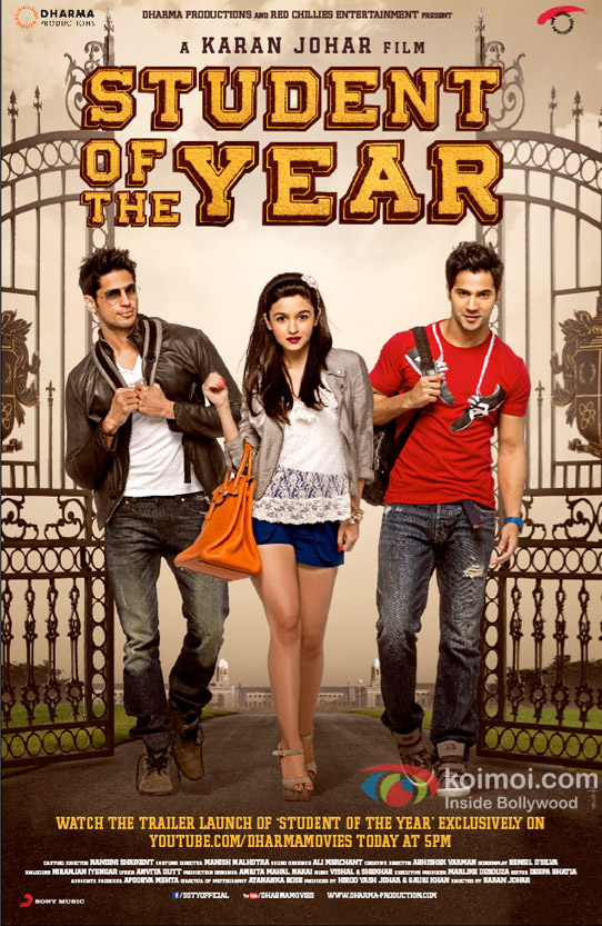 Sidharth Malhotra, Alia Bhatt and Varun Dhawan started their journey in Student of the Year Movie Poster