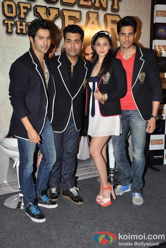 Varun Dhawan, Karan Johar, Alia Bhatt, Siddharth Malhotra At Student Of The Year Movie Trailer Launch