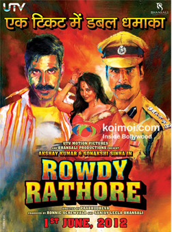 Akshay Kumar and Sonakshi Sinha In Rowdy Rathore Movie Poster