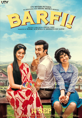 Ranbir Kapoor, Priyanka Chopra and Ileana D'Cruz starrer Barfi! Movie Poster
