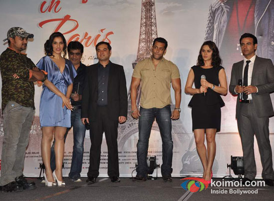 Sajid Ali, Sophie Choudry, Kishan Kumar, Prem Raj, Salman Khan, Preity Zinta, Rhehan Malliek At Ishkq In Paris Music Launch