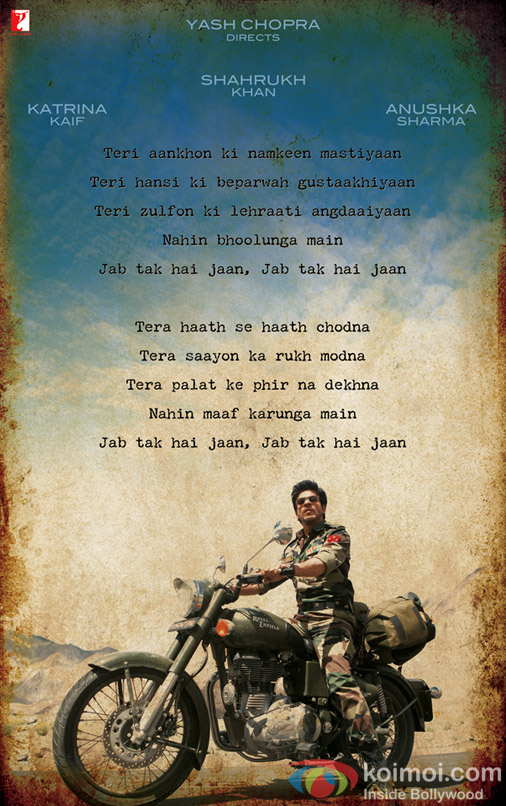 Shah Rukh Khan in Jab Tak Hai Jaan Movie Poster