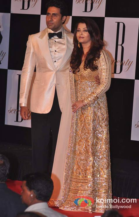 Abhishek Bachchan And Aishwarya Rai Bachchan At Amitabh Bachchan's 70th Birthday Bash