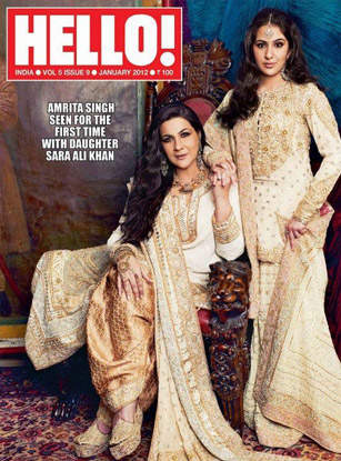 Amrita Singh with her daughter Sara Ali Khan in Hello! Magazine Cover