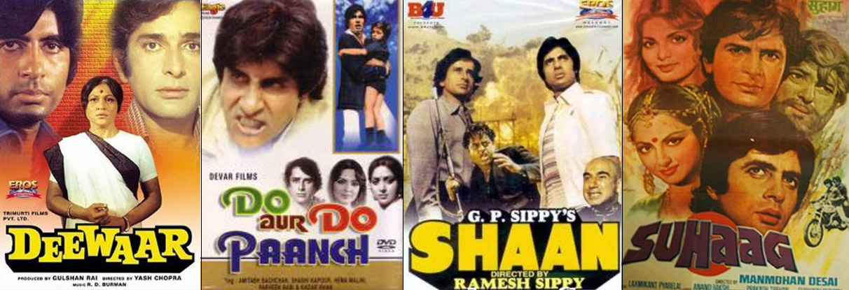 Deewar, Do Aur Do Paanch, Shaan and Suhaag Movie Posters