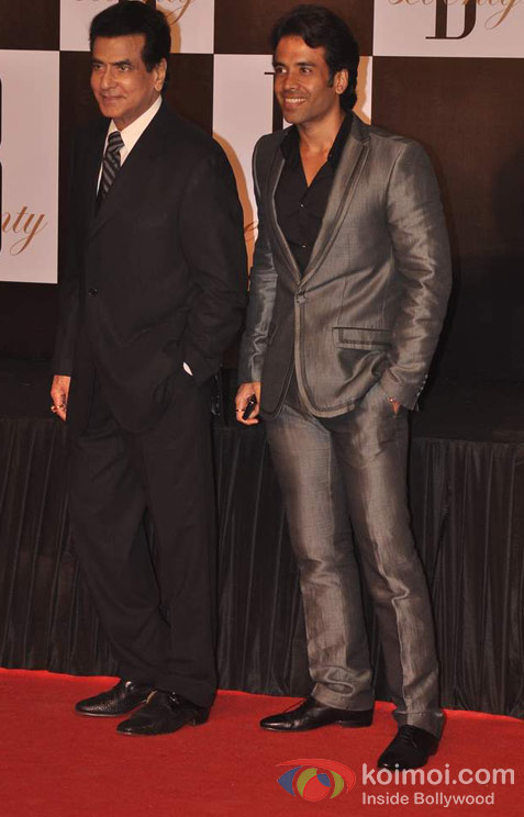 Jeetendra Kapoor And Tusshar Kapoor At Amitabh Bachchan's  70th Birthday Bash