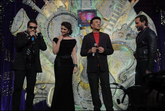 Mika Singh, Parineeti Chopra, Anu Malik and Saif Ali Khan at the GiMa Awards