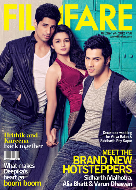 Student Of The Year Team Sidharth Malhotra, Alia Bhatt and Varun Dhawan On Filmfare Magazine's October 2012 Issue Cover Page
