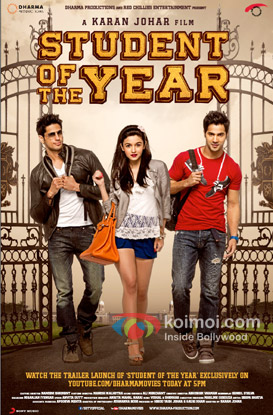 Sidharth Malhotra, Alia Bhatt and Varun Dhawan starrer Student Of The Year Movie Poster