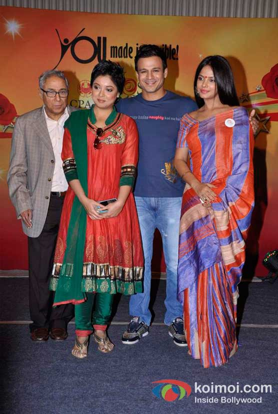 Tanushree Dutta, Vivek Oberoi And Neetu Chandra At CPAA's Cancer Rose Day 2012 Event Pic 2