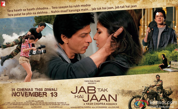 Shah Rukh Khan, Katrina Kaif and Anushka Sharma starrer Jab Tak Hai Jaan Movie Poster Wallpaper