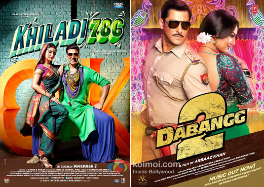 Khiladi 786 and Dabangg 2 Movie Posters