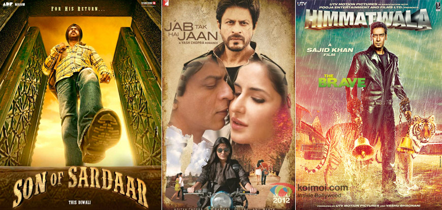 Son Of Sardaar, Jab Tak Hai Jaan and Himmatwala Movie Posters