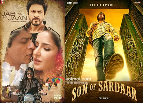 Shah Rukh Khan, Katrina Kaif And Anushka Sharma In Jab Tak Hai Jaan Movie Poster And Ajay Devgan In Son Of Sardaar Movie Poster