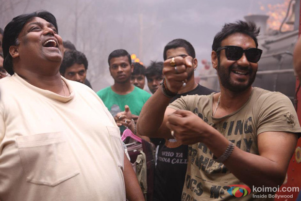 Ganesh Acharya and Ajay Devgn on the sets of Son Of Sardaar