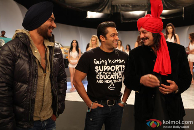 Ajay Devgn, Salman Khan and Sanjay Dutt on the sets of Son Of Sardaar