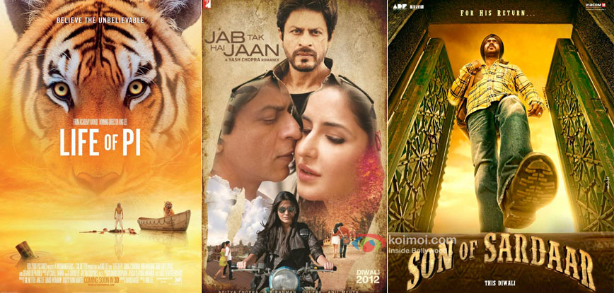 Life Of Pi, Jab Tak Hai Jaan and Son Of Sardaar Movie Posters