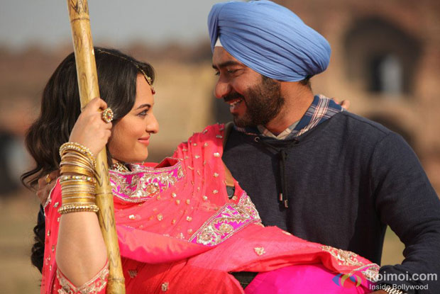 Ajay Devgn and Sonakshi Sinha in a still from Son Of Sardaar Movie