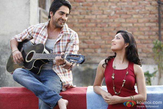 Ayushmann Khurrana and Yami Gautam in a still from Vicky Donor Movie