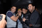 Bollywood actor Vindu Dara Singh, Kamaal Rashid Khan and Raju Srivastav at her birthday party celebration in Mumbai