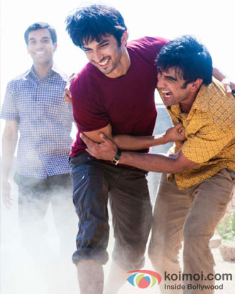 Raj Kumar Yadav, Sushant Singh Rajput and Amit Sadh in a still from Kai Po Che Movie