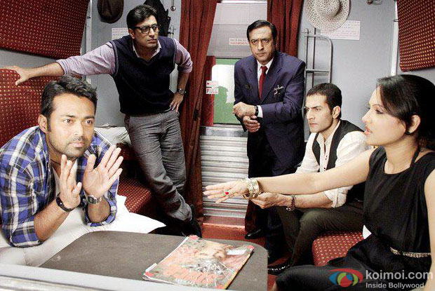 Leander Paes, Sudhanshu Pandey, Gulshan Grover and Priyanshu Chatterjee in a still from Rajdhani Express Movie